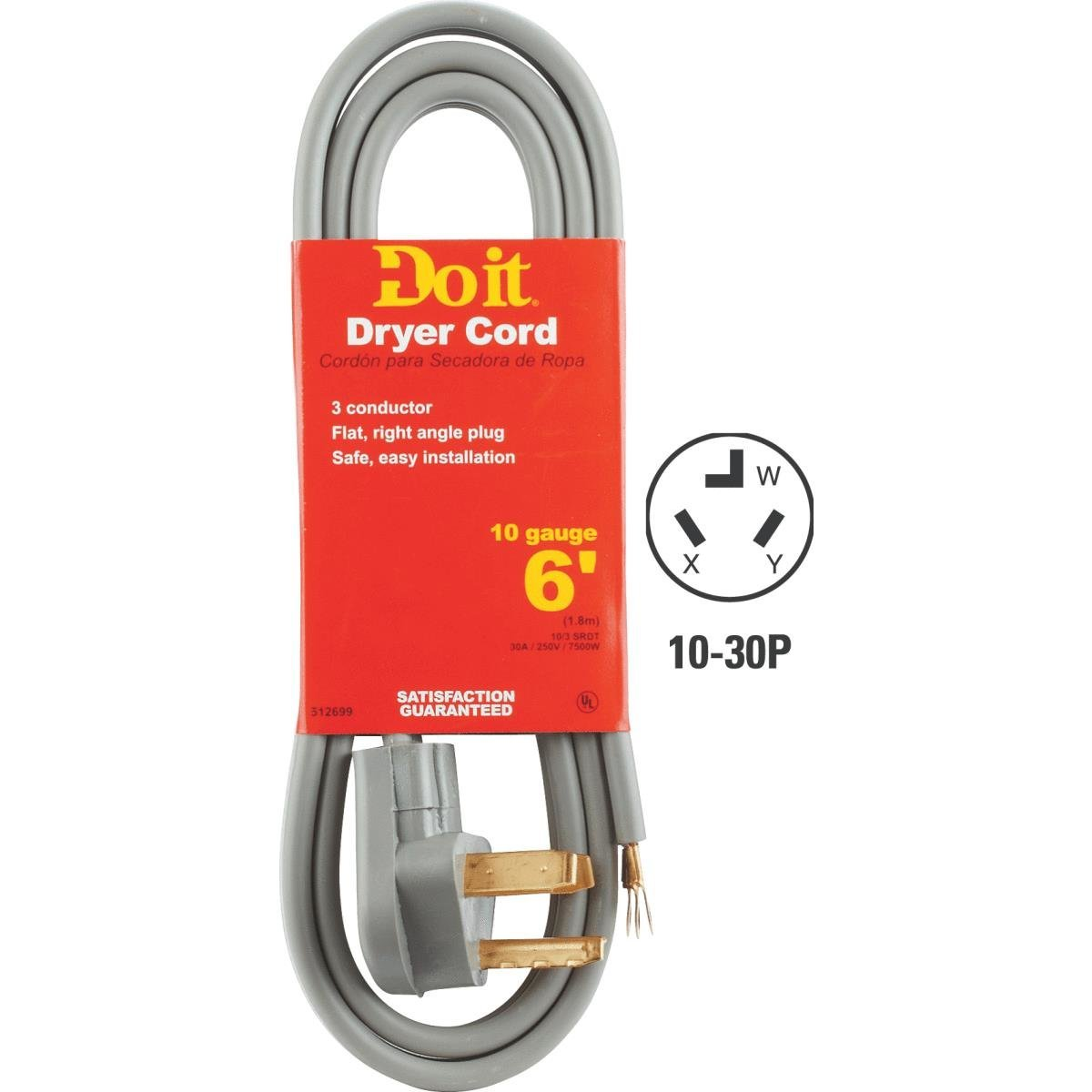 DRYER CORD 3WIRE 6FT 30A 10/3 10-30P (93-5028)