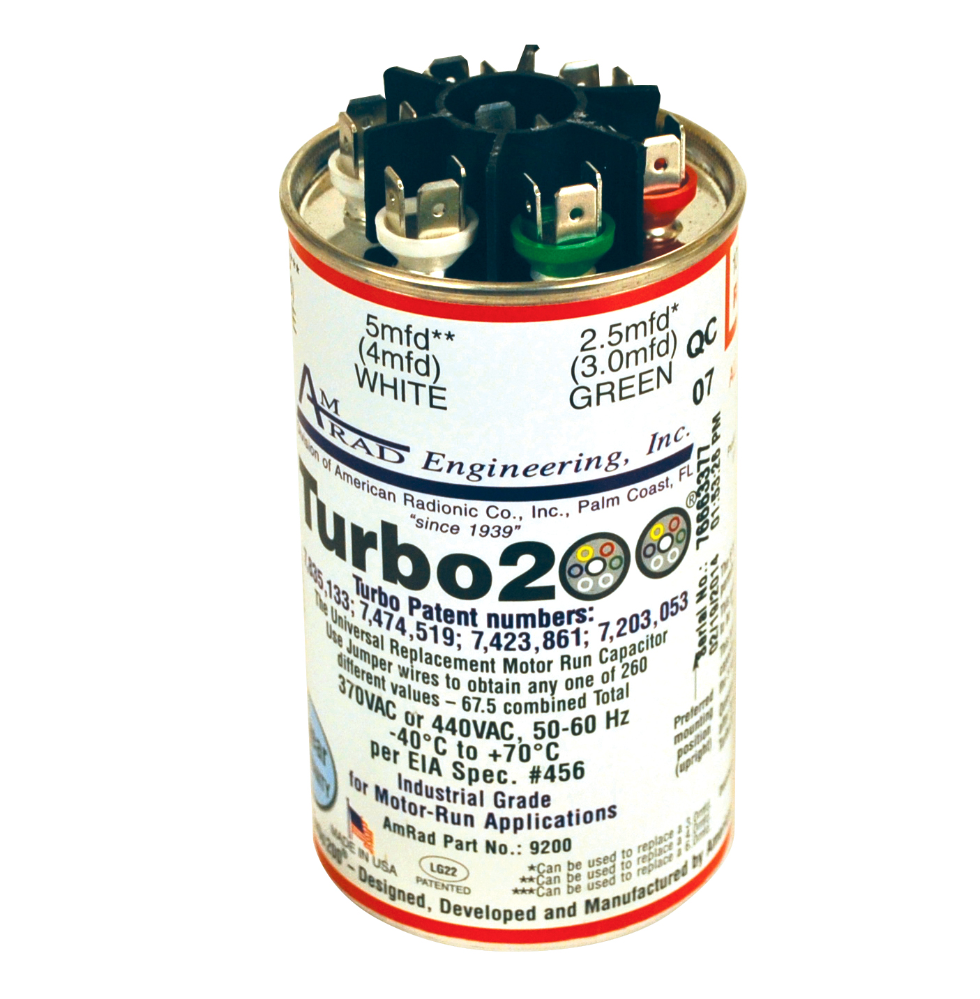 TURBO 200 MULTI-TAP CAPACITOR 2.5-67.5 MFD 370 OR 440V MARS