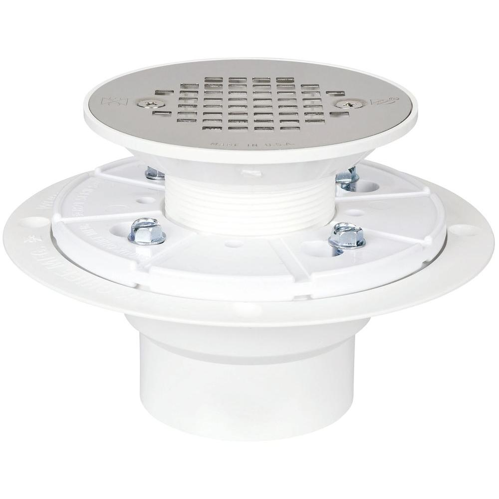 GREY PVC SHOWER DRAIN FOR PAN LINER W/ ROUND SS STRAINER