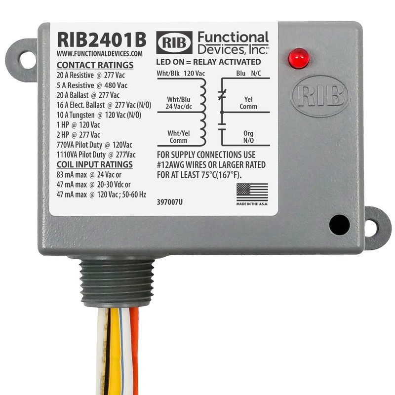 "RIB2401B 20A SPDT ENCLOSED RELAY. 1/2"" NIPPLE MOUNT."