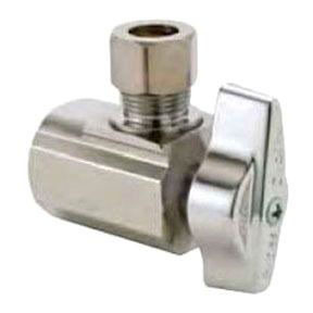 "3/8""OD X 1/2""FIP NL CHROME ANGLE 1/4 TURN SUPPLY STOP"