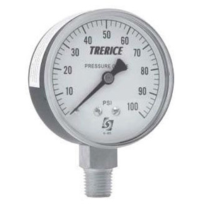 "2-1/2"" PRESSURE GAUGE 0-100PSI 1/4 BOTTOM MOUNT"