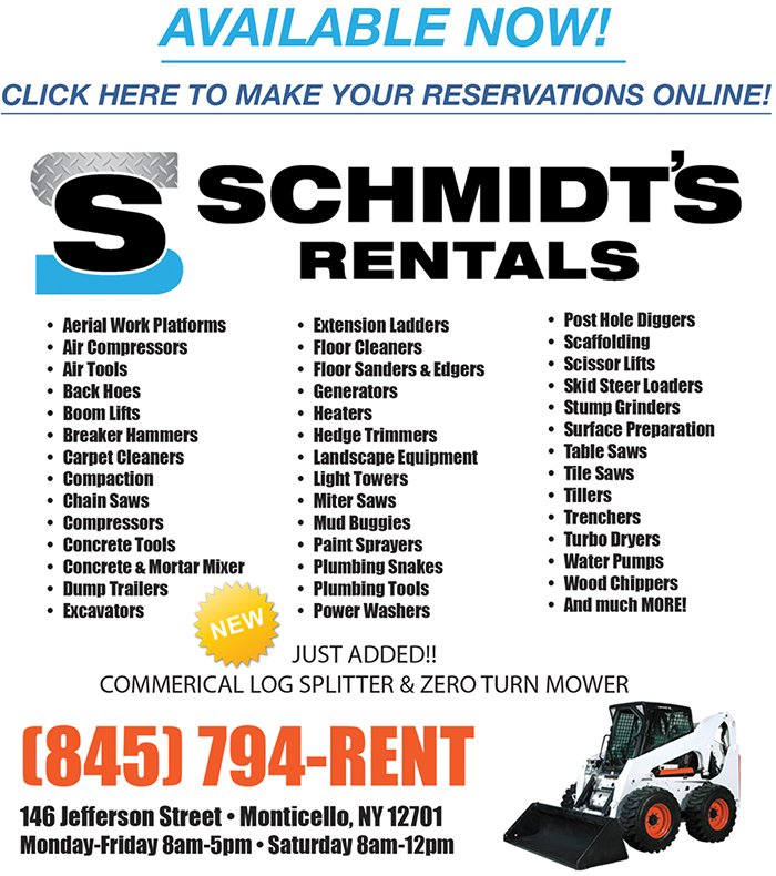 Schmidt's Rentals. Available Now! Click here to make your reservations. (845) 794-RENT.